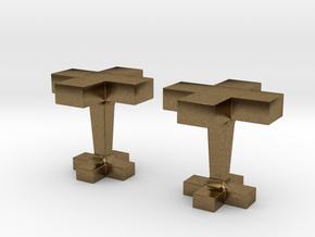 Plus cufflink in Natural Bronze