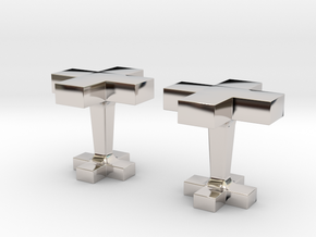 Plus cufflink in Rhodium Plated Brass