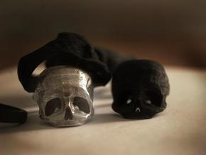 Skull Ring US 6 in Polished and Bronzed Black Steel
