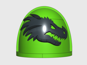 10x Dragon Head - G:4a Right Shoulders in Smooth Fine Detail Plastic