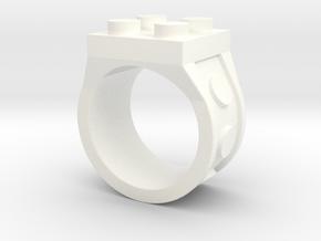 Brick 4 Stud Ring - Size 9 in White Processed Versatile Plastic