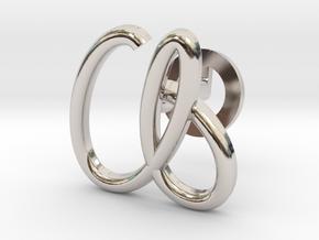 Cursive A Cufflink in Rhodium Plated Brass