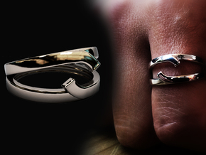 "Double Ring ""Comma"" in Rhodium Plated Brass: 8 / 56.75"
