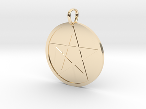 Pentagram Medallion in 14K Yellow Gold