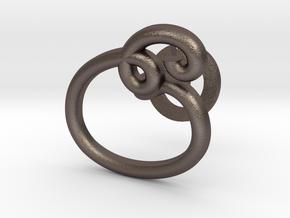 Cursive E Cufflink in Polished Bronzed Silver Steel