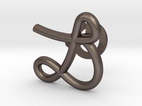 Cursive L Cufflink in Polished Bronzed Silver Steel