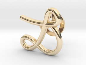 Cursive L Cufflink in 14k Gold Plated Brass