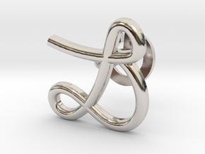Cursive L Cufflink in Rhodium Plated Brass