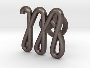 Cursive M Cufflink in Polished Bronzed Silver Steel