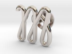 Cursive M Cufflink in Rhodium Plated Brass