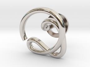 Cursive Q Cufflink in Rhodium Plated Brass