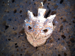Owl Pendant in Natural Bronze