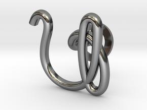 Cursive U Cufflink in Fine Detail Polished Silver