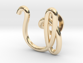 Cursive U Cufflink in 14K Yellow Gold