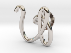 Cursive V Cufflink in Rhodium Plated Brass