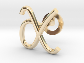 Cursive X Cufflink in 14k Gold Plated Brass