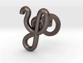 Cursive Y Cufflink in Polished Bronzed Silver Steel