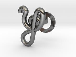 Cursive Y Cufflink in Fine Detail Polished Silver