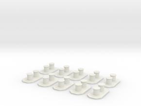 1/96 IJN Bollard Set x10 in White Natural Versatile Plastic