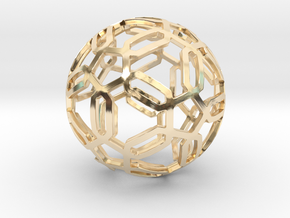 Pentagon Pattern Sphere in 14k Gold Plated Brass: Medium