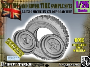 1/25 Land Rover 750x16 Tire and wheels Sample Set5 in Smooth Fine Detail Plastic