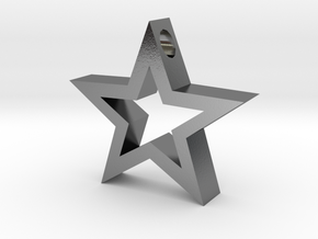 Star pendant. in Polished Silver