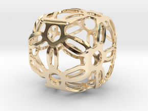 Symmetric Cuboid Structure 1 in 14k Gold Plated Brass