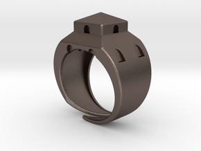 Anello LB in Polished Bronzed Silver Steel