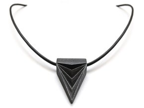Unisex Futuristic Triangle Arrowhead Pendant in Polished and Bronzed Black Steel