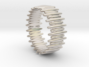 SABER TOOTH BANGLE 2.5IN ID in Rhodium Plated Brass