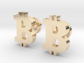 Bitcoin Cufflinks in 14k Gold Plated Brass