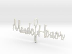 Maid of Honor Necklace Pendant in White Natural Versatile Plastic