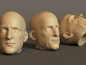 Generic Male Head 1/6 scale figure - Variant 07 in White Natural Versatile Plastic: Small
