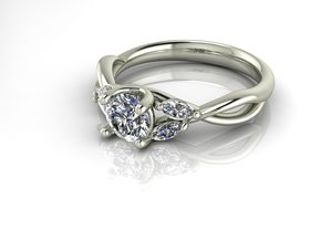 Crossover Solitaire with Marquise NO STONES SUPPLI in Fine Detail Polished Silver