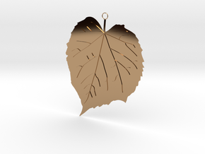 Elm Leaf Pendant in Polished Brass