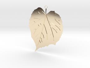 Elm Leaf Pendant in 14K Yellow Gold