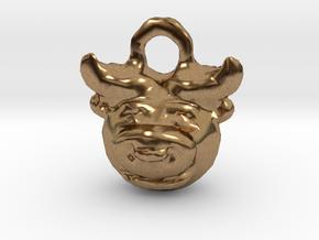 Zodiac Taurus Bull Pendant in Natural Brass