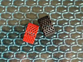 Slim Perforated Honeycomb Ring in Red Strong & Flexible Polished