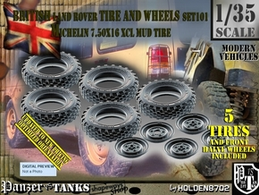 1/35 Land Rover XCL 750x16 Tire and wheels Set101 in Smooth Fine Detail Plastic