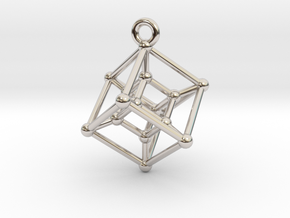Hypercube Pendant in Rhodium Plated Brass