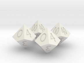 Percent Dice D10 in White Natural Versatile Plastic