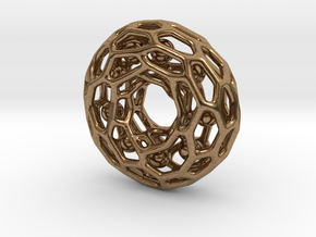 Voronoi tor pendant with little balls moving freel in Natural Brass (Interlocking Parts)