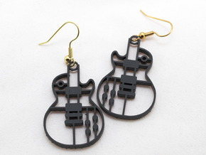 Les Paul Earrings in different plastic in Black Acrylic