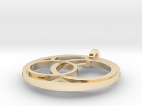 Triple Ring Pendant in 14k Gold Plated Brass