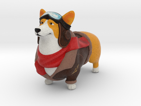 Corgi Fighter Pilot in Full Color Sandstone