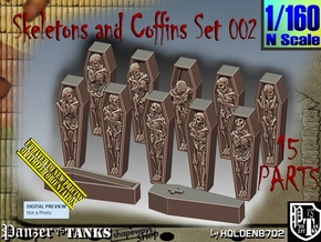 1/160 Skeleton+Coffins Set002 in Smooth Fine Detail Plastic