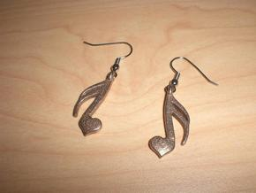 Sixteenth Heart Earrings in Polished Bronzed Silver Steel