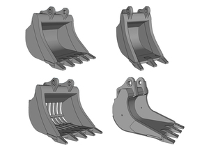 HO - Bucket Set nr.1 for 20-25t excavators in Frosted Ultra Detail