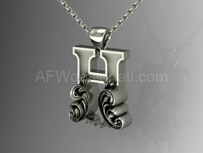 Scroll Letter H – Initial Letter Pendant in Fine Detail Polished Silver