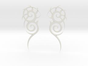 "Tribal ""Death essense"" Earrings in White Natural Versatile Plastic"